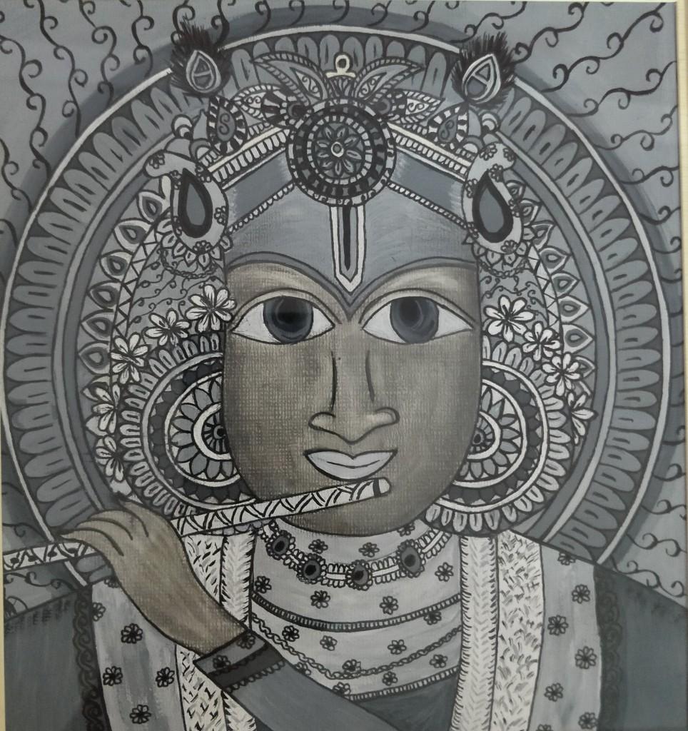 Lord Krishna- Mix media art