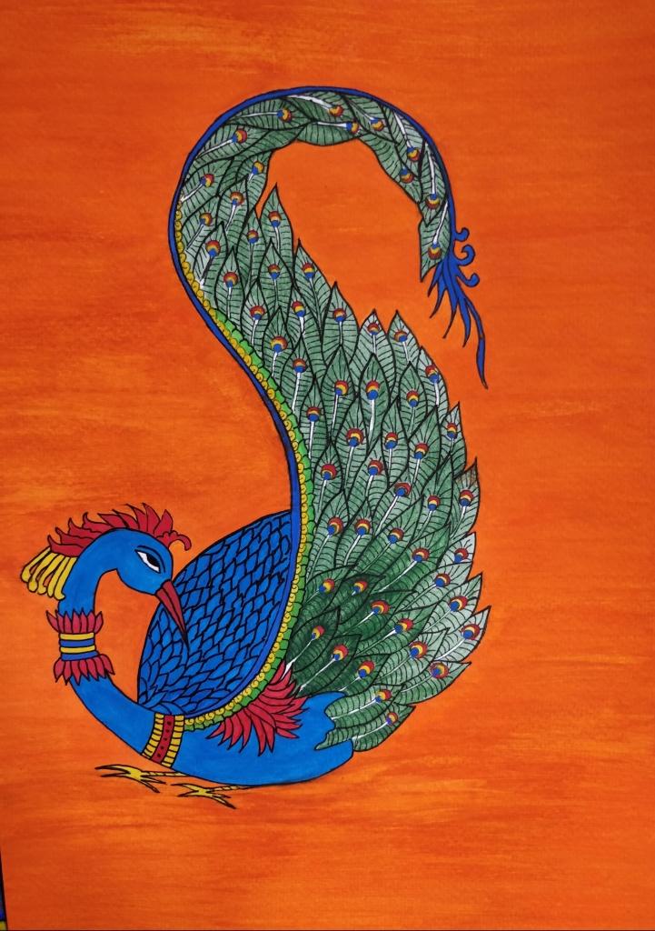 Peacock in Kalamkari style
